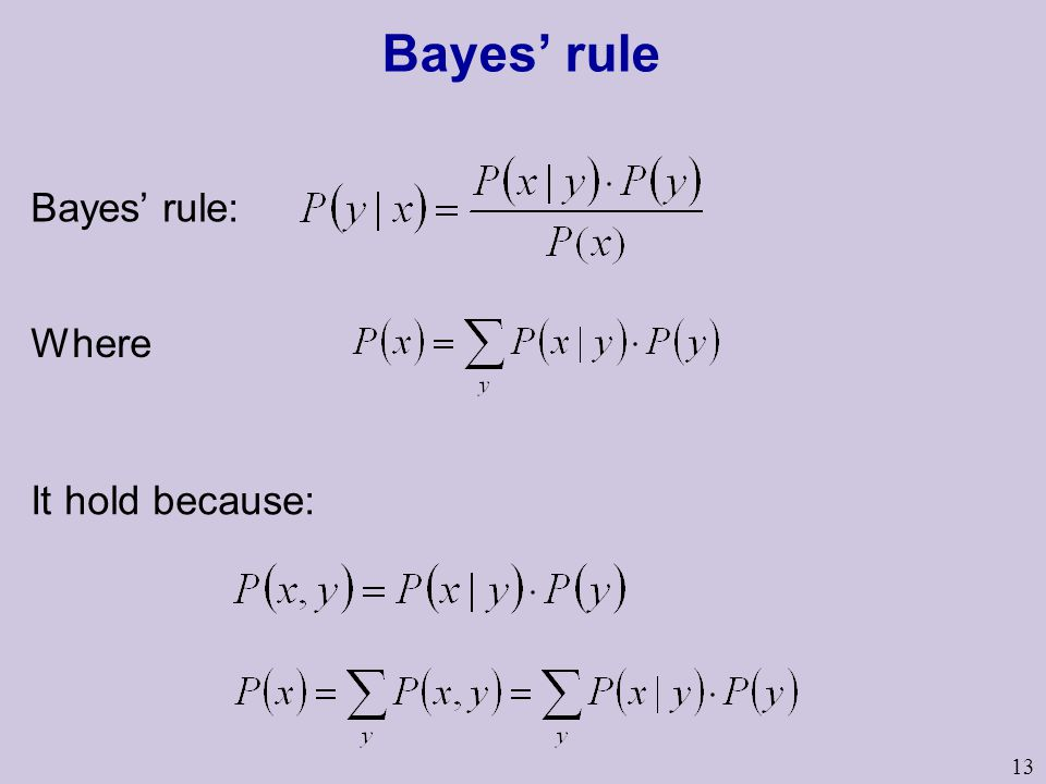 13 Bayes' rule Where Bayes' rule: It hold because: