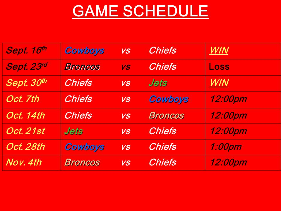 GAME SCHEDULE Sept. 16 th Cowboys Cowboys vs ChiefsWIN Sept.