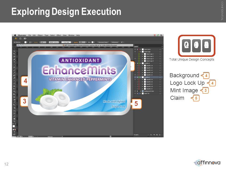 CONFIDENTIAL 12 Exploring Design Execution Total Unique Design Concepts 0 0 1 Background 4 0 0 2 0 0 3 0 0 4 4 Logo Lock Up 4 0 1 6 4 Mint Image 3 0 4 8 3 Claim 5 2 4 0 5