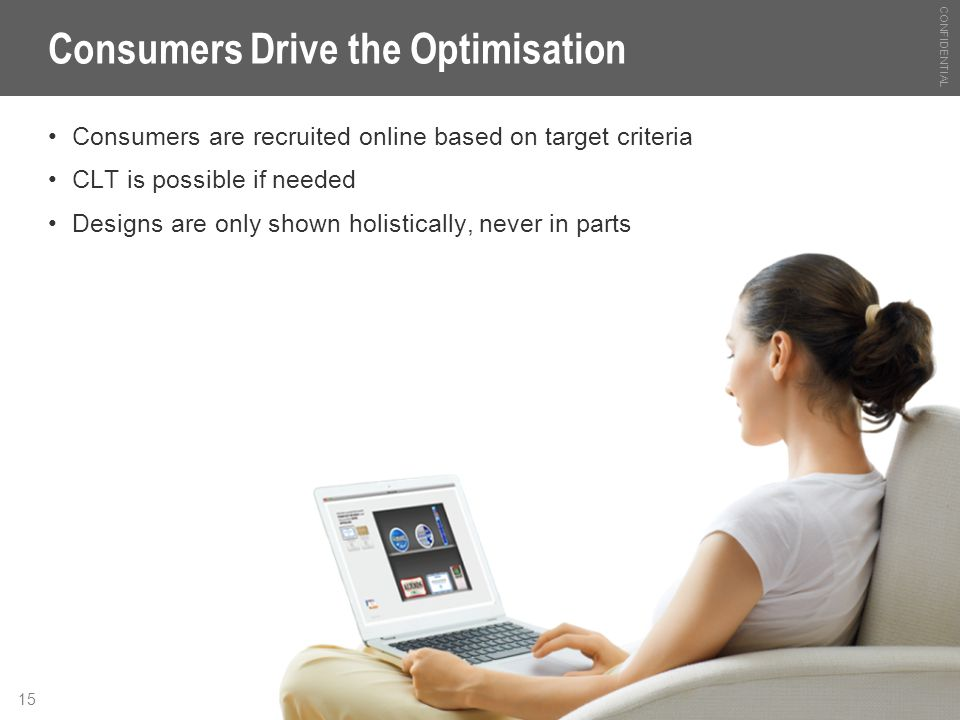 CONFIDENTIAL 15 Consumers Drive the Optimisation Consumers are recruited online based on target criteria CLT is possible if needed Designs are only sh