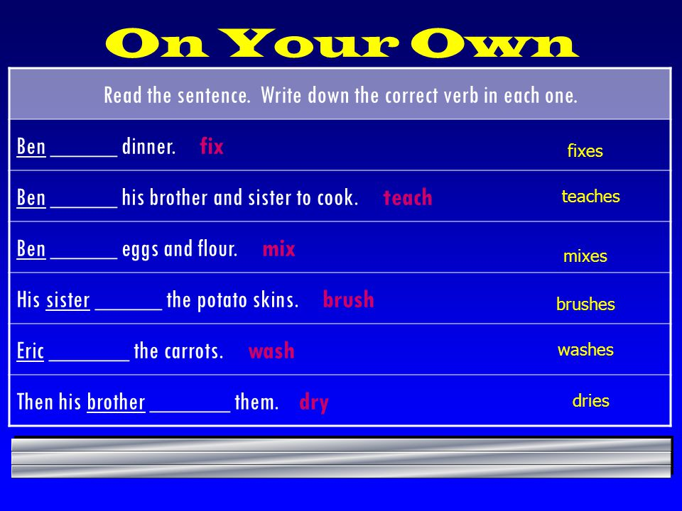 On Your Own Read the sentence.Write down the correct verb in each one.