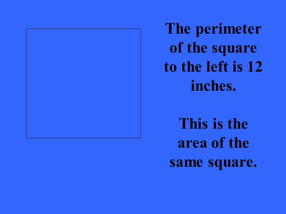 The perimeter of the square to the left is 12 inches. This is the area of the same square.