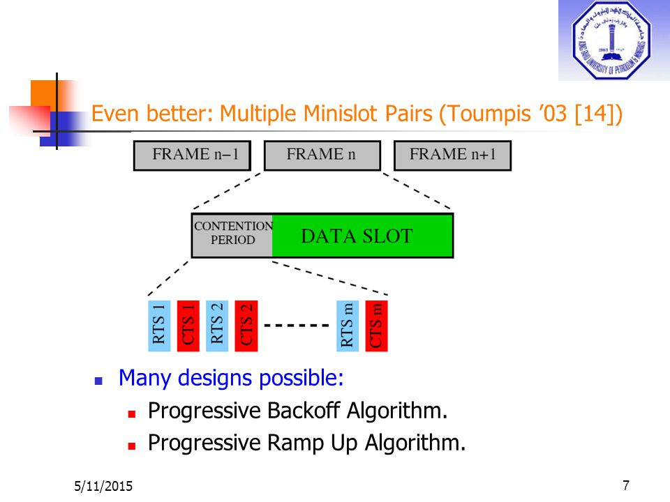 5/11/20157 Even better: Multiple Minislot Pairs (Toumpis '03 [14]) Many designs possible: Progressive Backoff Algorithm.