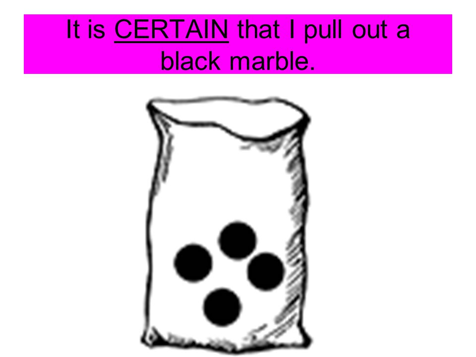 It is IMPOSSIBLE that I will pull out a black marble.