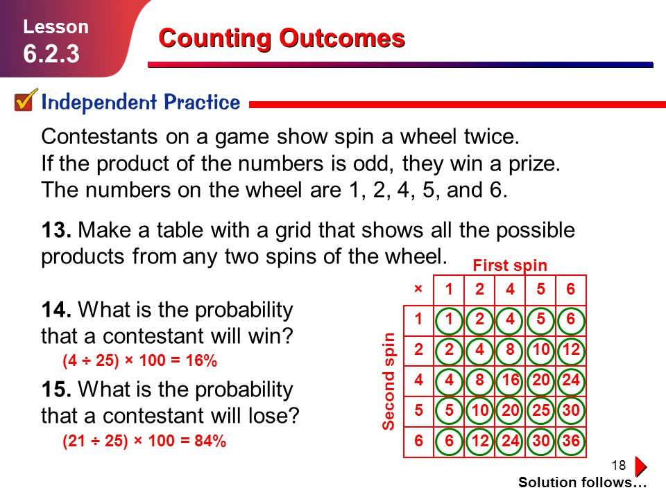 18 Counting Outcomes Independent Practice Solution follows… Lesson 6.2.3 Contestants on a game show spin a wheel twice. If the product of the numbers