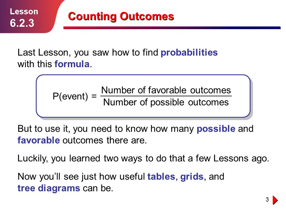 3 Counting Outcomes Lesson 6.2.3 Last Lesson, you saw how to find probabilities with this formula. P(event) = Number of favorable outcomes Number of p