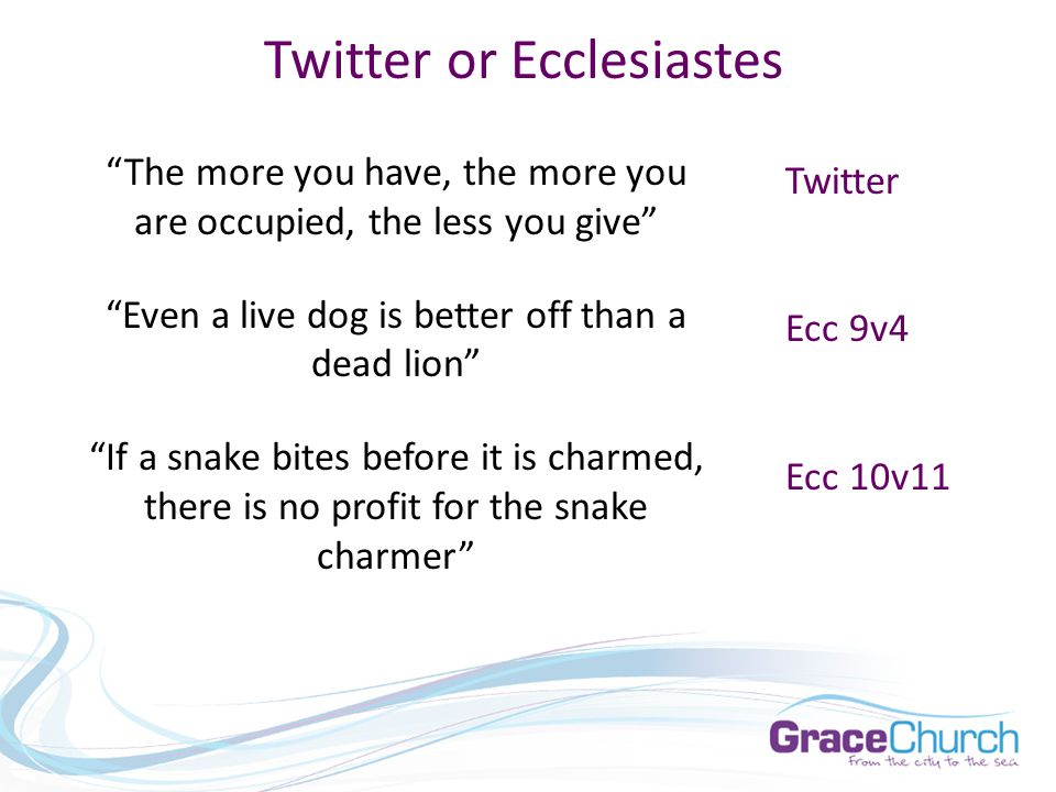 Twitter or Ecclesiastes The more you have, the more you are occupied, the less you give Even a live dog is better off than a dead lion If a snake bites before it is charmed, there is no profit for the snake charmer Twitter Ecc 9v4 Ecc 10v11
