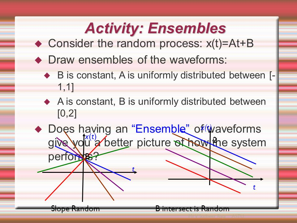 Stationarity  Definition: A random process is STATIONARY to the order N if for any t 1,t 2,..., t N, f x {x(t 1 ), x(t 2 ),...x(t N )}=f x {x(t 1 +t 0 ), x(t 2 +t 0 ),...,x(t N +t 0 )}  This means that the process behaves similarly (follows the same PDF) regardless of when you measure it.