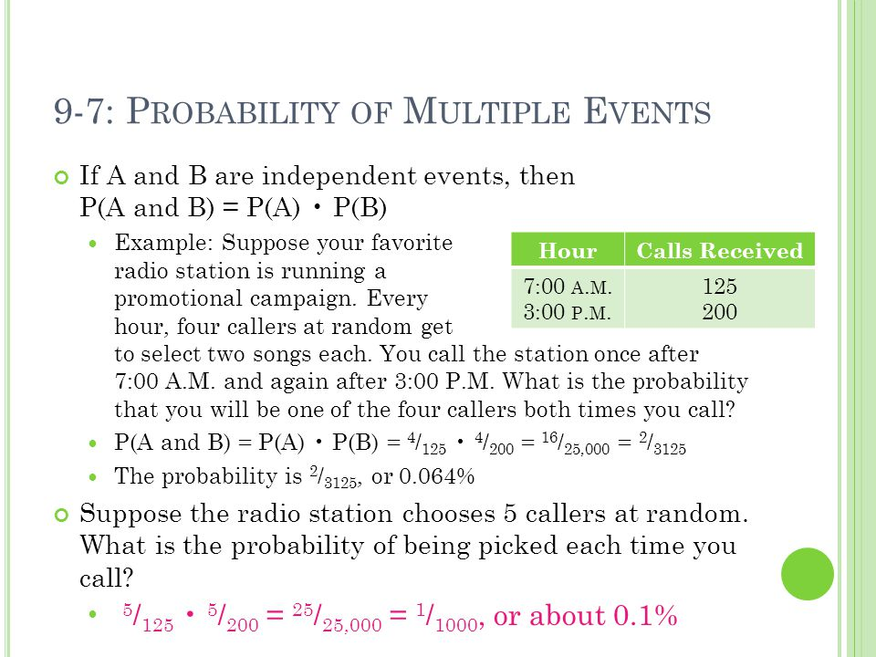9-7: P ROBABILITY OF M ULTIPLE E VENTS If A and B are independent events, then P(A and B) = P(A) P(B) Example: Suppose your favorite radio station is