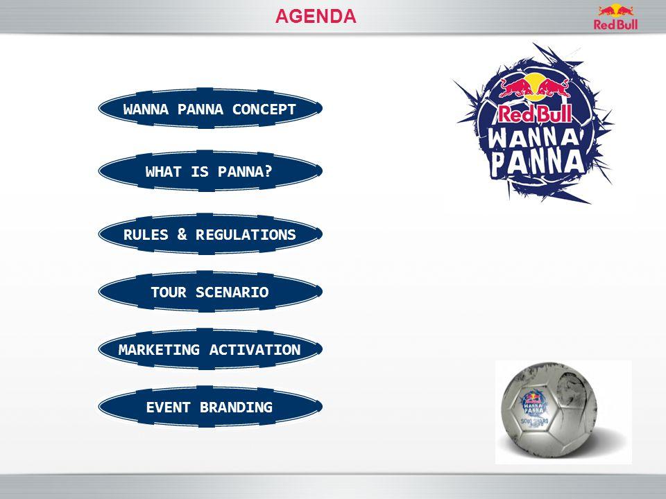 AGENDA WANNA PANNA CONCEPT RULES & REGULATIONS TOUR SCENARIO WHAT IS PANNA? EVENT BRANDING MARKETING ACTIVATION
