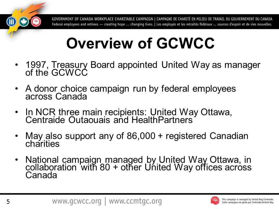 5 Overview of GCWCC 1997, Treasury Board appointed United Way as manager of the GCWCC A donor choice campaign run by federal employees across Canada In NCR three main recipients: United Way Ottawa, Centraide Outaouais and HealthPartners May also support any of 86,000 + registered Canadian charities National campaign managed by United Way Ottawa, in collaboration with 80 + other United Way offices across Canada