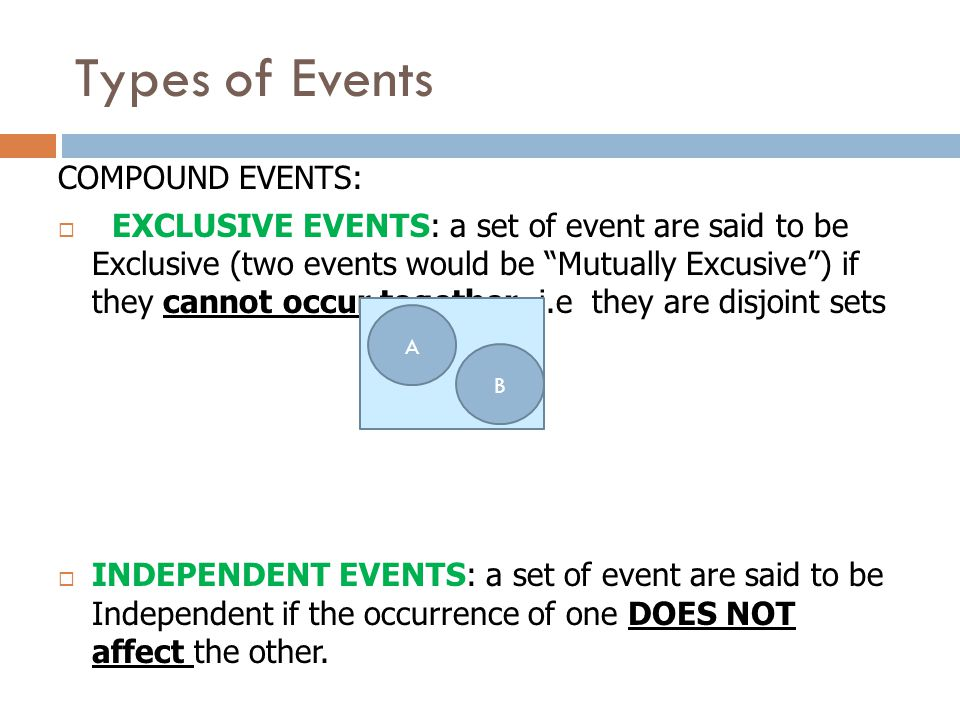 Types of Events COMPOUND EVENTS:  EXCLUSIVE EVENTS: a set of event are said to be Exclusive (two events would be Mutually Excusive ) if they cannot occur together.