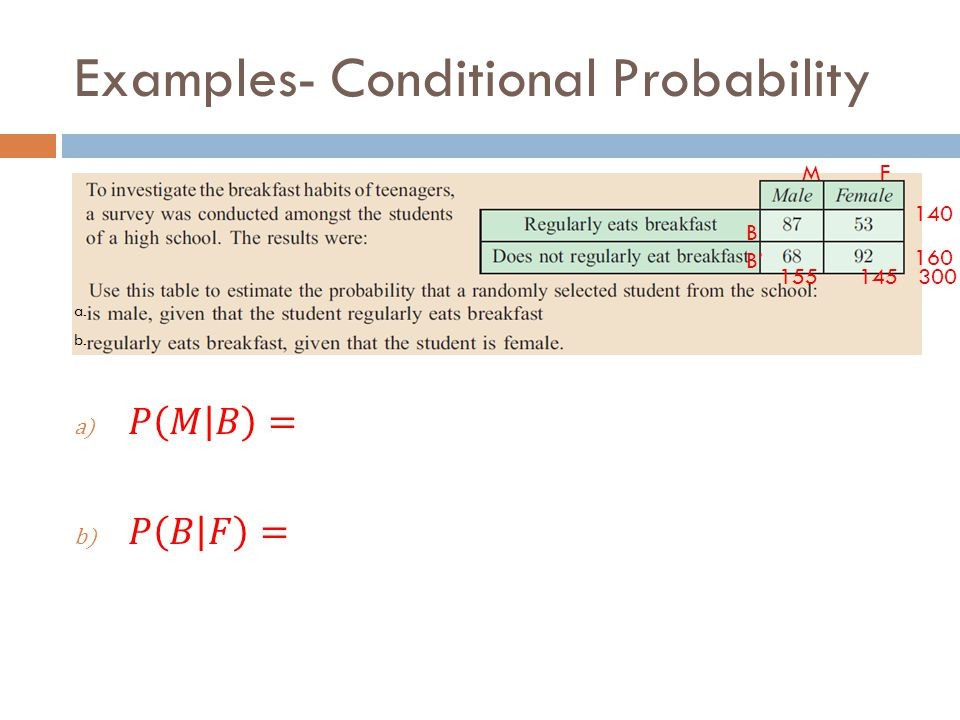 Examples- Conditional Probability a. b. B B' M F 155 145 300 140 160