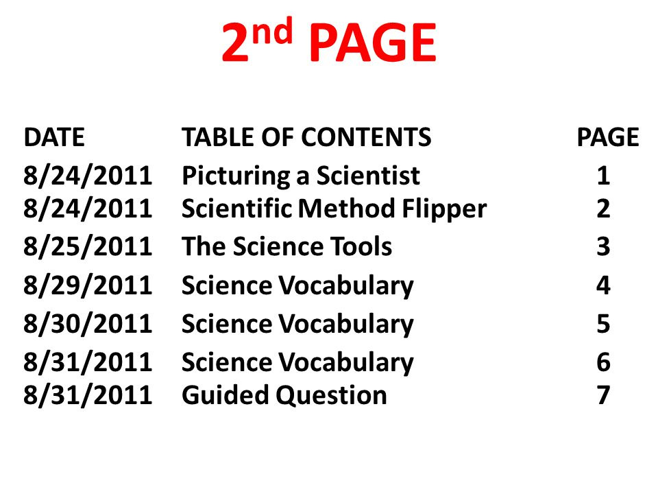 8/31/2011 Science Vocabulary 6 8/31/2011 Guided Question 7 DATE TABLE OF CONTENTS PAGE 2 nd PAGE 8/24/2011 Picturing a Scientist 1 8/24/2011 Scientific Method Flipper 2 8/25/2011 The Science Tools 3 8/29/2011 Science Vocabulary 4 8/30/2011 Science Vocabulary 5