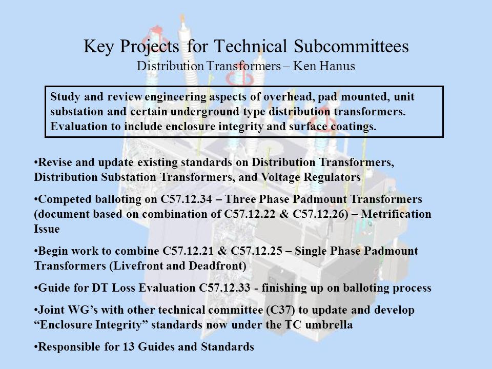 Key Projects for Technical Subcommittees Distribution Transformers – Ken Hanus Revise and update existing standards on Distribution Transformers, Dist