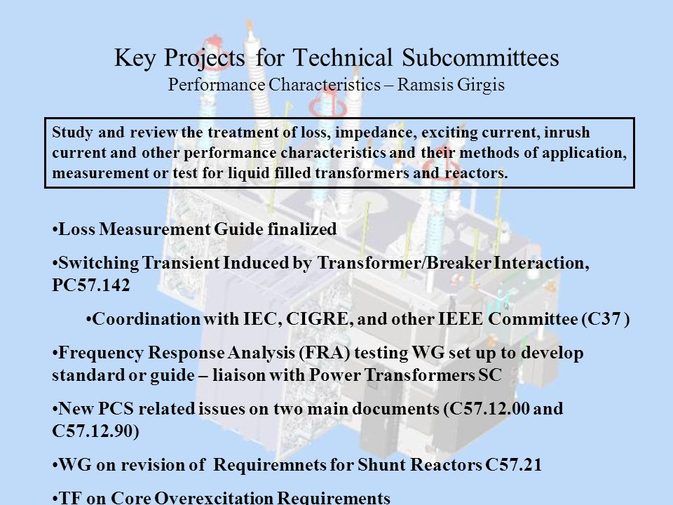 Key Projects for Technical Subcommittees Performance Characteristics – Ramsis Girgis Study and review the treatment of loss, impedance, exciting curre