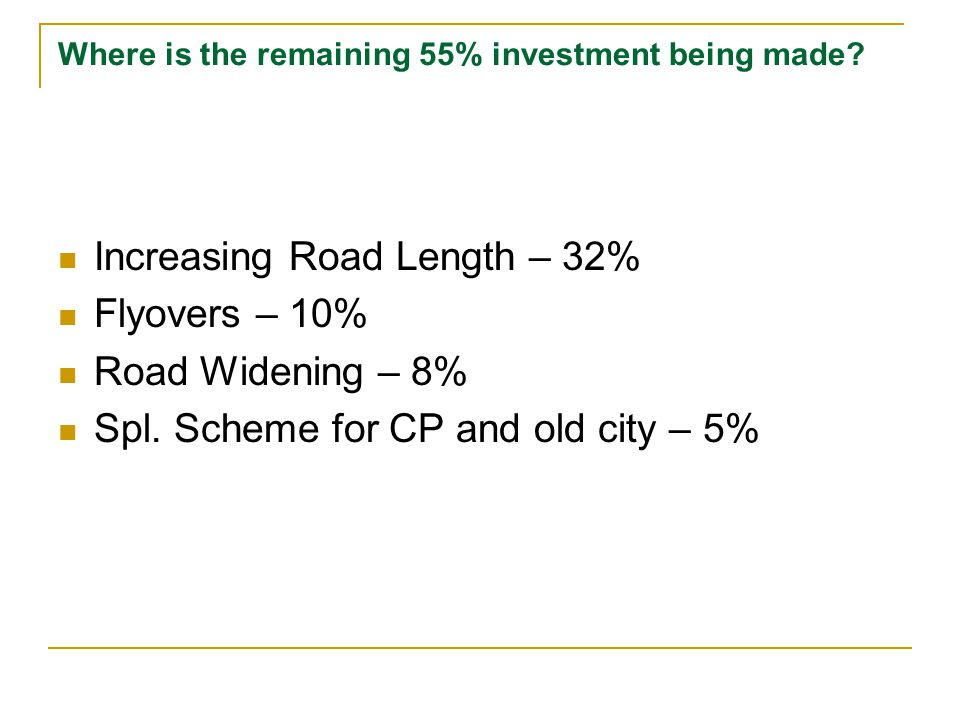 Where is the remaining 55% investment being made.