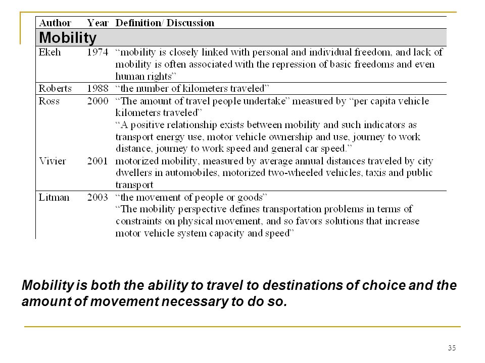 35 Mobility is both the ability to travel to destinations of choice and the amount of movement necessary to do so.