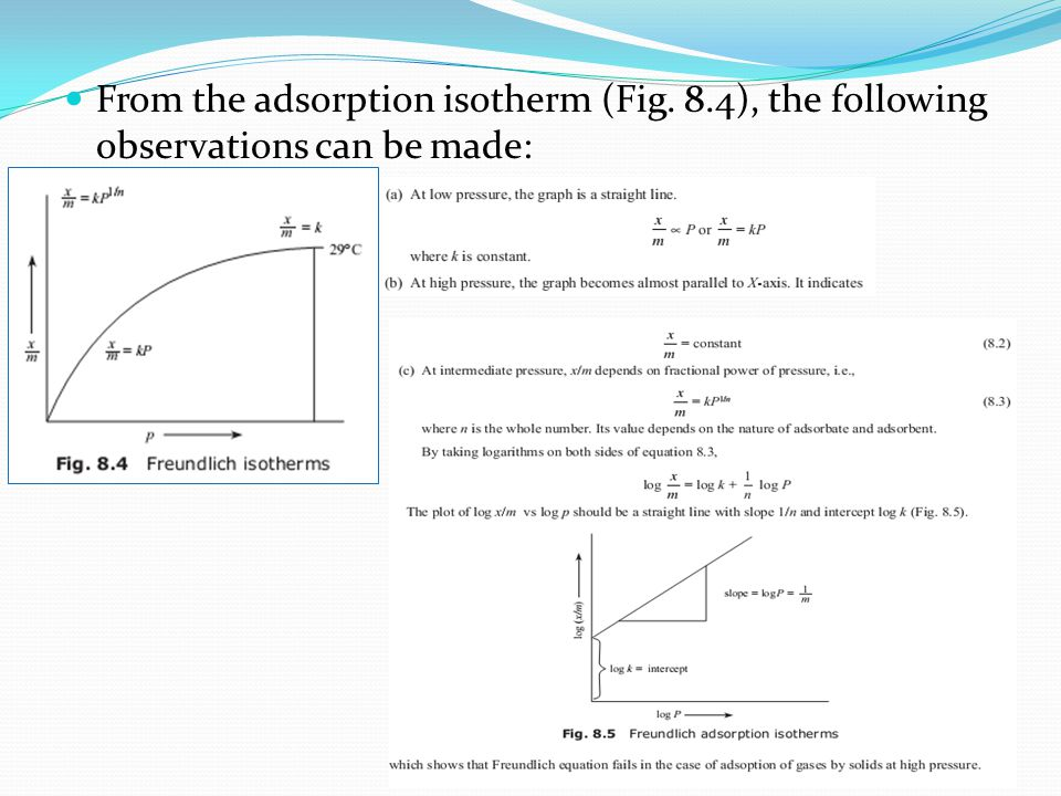 From the adsorption isotherm (Fig. 8.4), the following observations can be made: