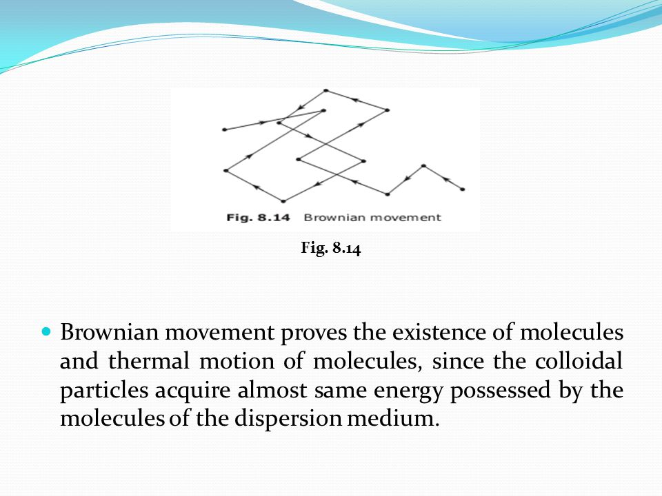 Brownian movement proves the existence of molecules and thermal motion of molecules, since the colloidal particles acquire almost same energy possesse