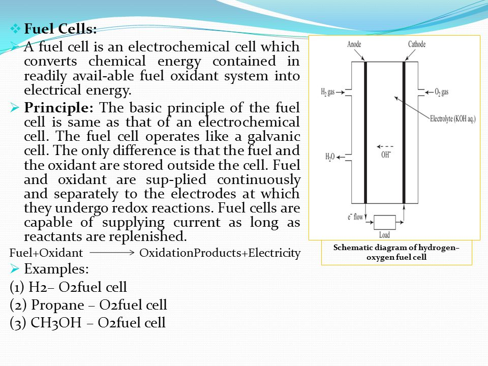 Fuel Cells:  A fuel cell is an electrochemical cell which converts chemical energy contained in readily avail-able fuel oxidant system into electri