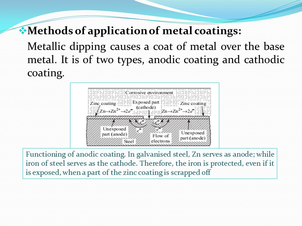  Methods of application of metal coatings: Metallic dipping causes a coat of metal over the base metal. It is of two types, anodic coating and cathod