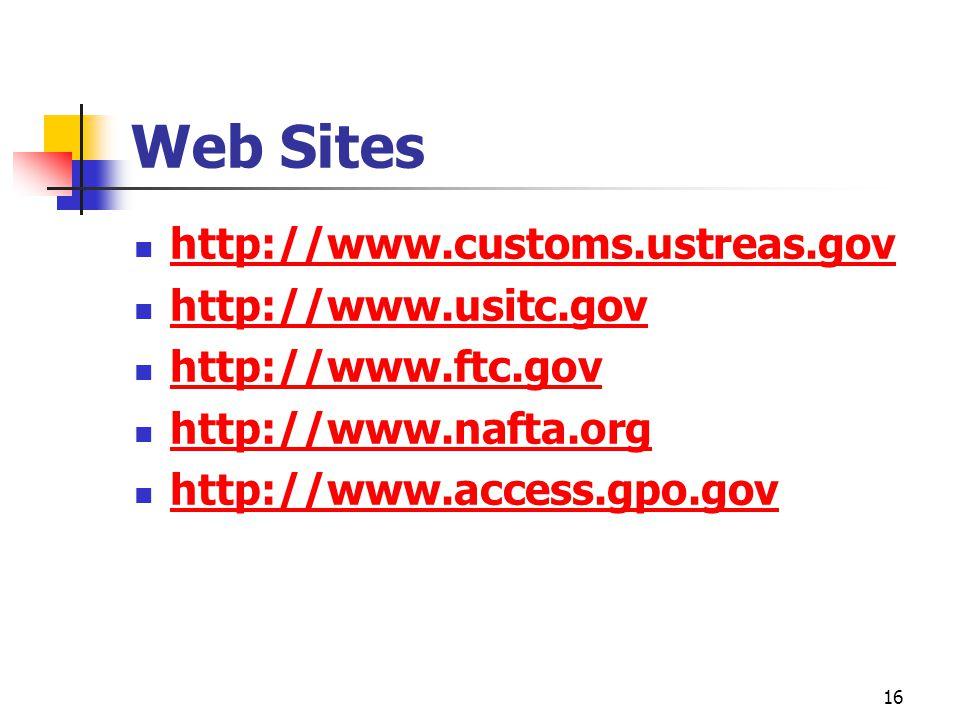 16 Web Sites http://www.customs.ustreas.gov http://www.usitc.gov http://www.ftc.gov http://www.nafta.org http://www.access.gpo.gov