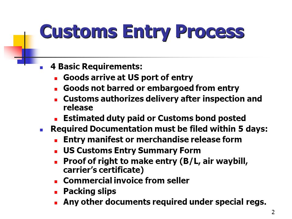 2 Customs Entry Process 4 Basic Requirements: Goods arrive at US port of entry Goods not barred or embargoed from entry Customs authorizes delivery after inspection and release Estimated duty paid or Customs bond posted Required Documentation must be filed within 5 days: Entry manifest or merchandise release form US Customs Entry Summary Form Proof of right to make entry (B/L, air waybill, carrier's certificate) Commercial invoice from seller Packing slips Any other documents required under special regs.