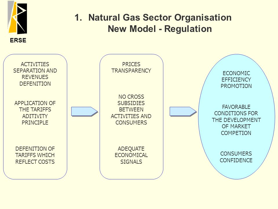 ERSE ACTIVITIES SEPARATION AND REVENUES DEFENITION APPLICATION OF THE TARIFFS ADITIVITY PRINCIPLE DEFENITION OF TARIFFS WHICH REFLECT COSTS PRICES TRANSPARENCY NO CROSS SUBSIDIES BETWEEN ACTIVITIES AND CONSUMERS ADEQUATE ECONOMICAL SIGNALS ECONOMIC EFFICIENCY PROMOTION FAVORABLE CONDITIONS FOR THE DEVELOPMENT OF MARKET COMPETION CONSUMERS CONFIDENCE 1.Natural Gas Sector Organisation New Model - Regulation