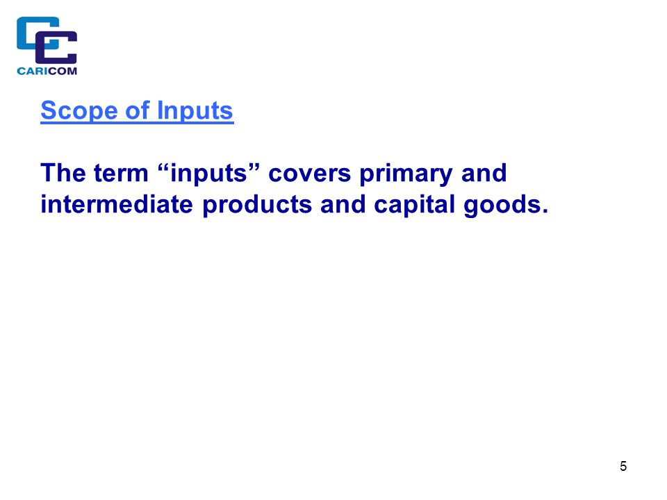 5 Scope of Inputs The term inputs covers primary and intermediate products and capital goods.