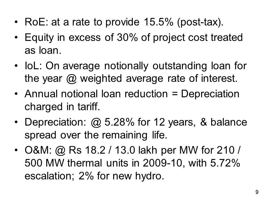 9 RoE: at a rate to provide 15.5% (post-tax).