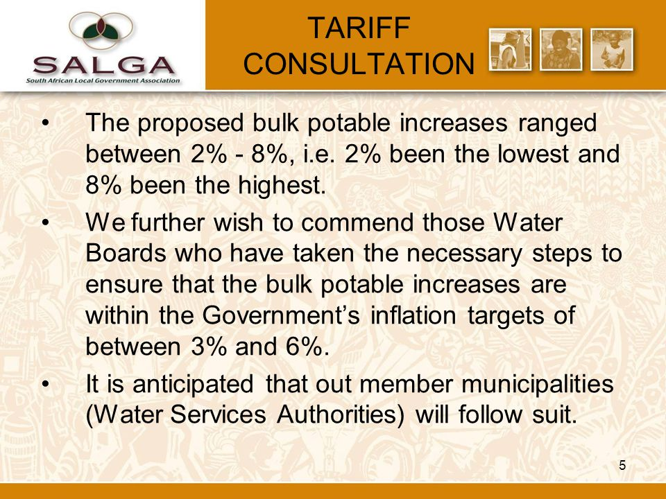 5 TARIFF CONSULTATION The proposed bulk potable increases ranged between 2% - 8%, i.e.