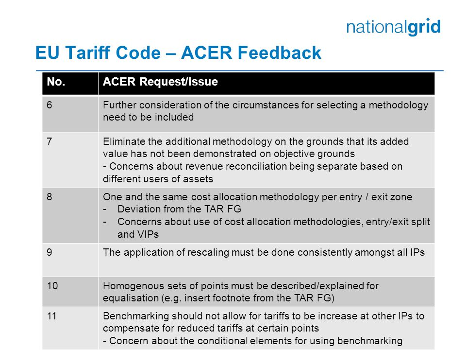 EU Tariff Code – ACER Feedback No.ACER Request/Issue 6Further consideration of the circumstances for selecting a methodology need to be included 7Eliminate the additional methodology on the grounds that its added value has not been demonstrated on objective grounds - Concerns about revenue reconciliation being separate based on different users of assets 8One and the same cost allocation methodology per entry / exit zone -Deviation from the TAR FG -Concerns about use of cost allocation methodologies, entry/exit split and VIPs 9The application of rescaling must be done consistently amongst all IPs 10Homogenous sets of points must be described/explained for equalisation (e.g.