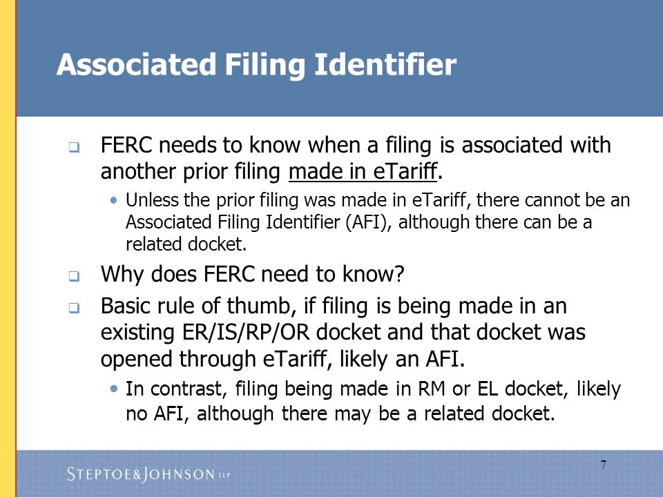 8 What Filings Have AFIs. Will have an AFI  Answer to deficiency letter.