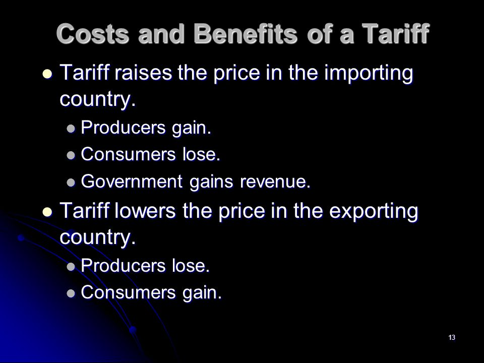 12 Effective Rate of Protection If steel had $3000 value added before and $4500 after the tariff, the effective rate of protection will be %50.