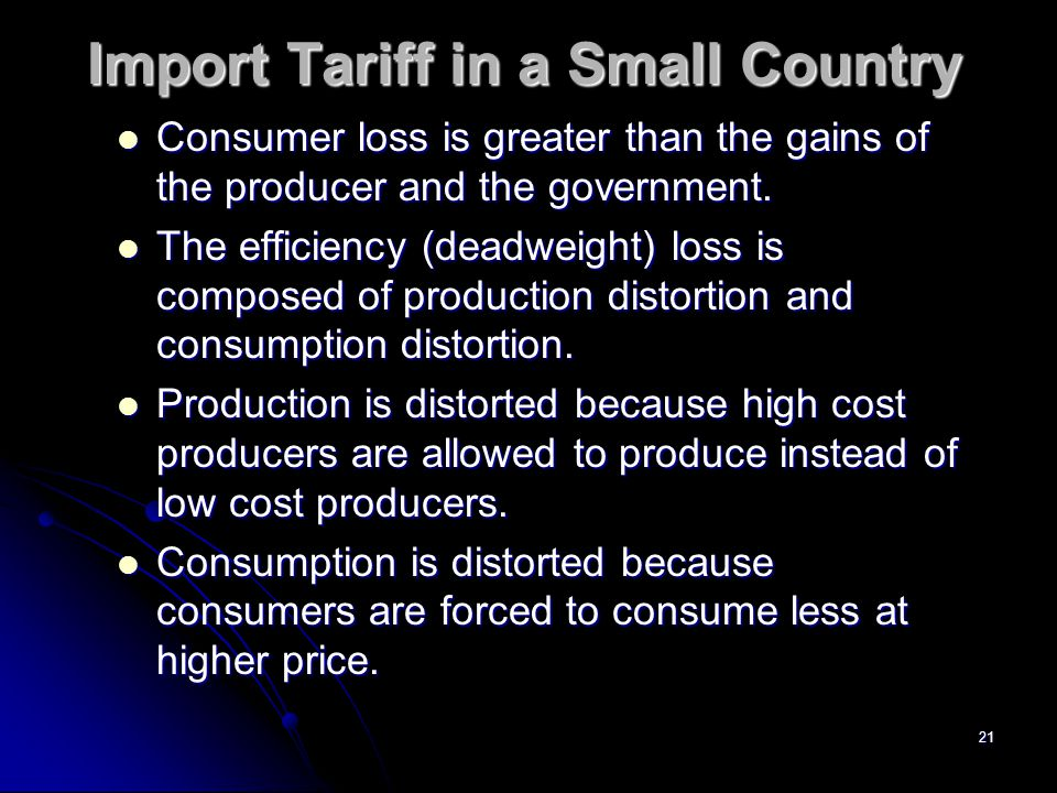 20 Import Tariff in a Small Country Pw Q1 Q2 D S Pt Q3 Q4 Identify producer gain, government gain, and consumer loss.