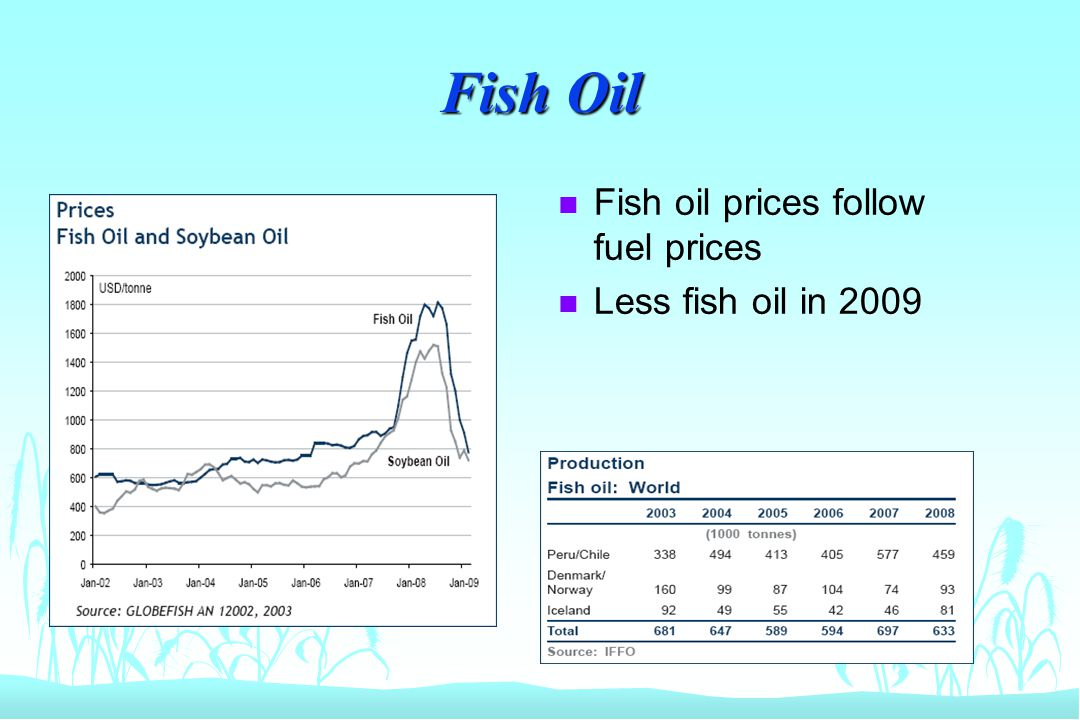 Fish Oil n Fish oil prices follow fuel prices n Less fish oil in 2009