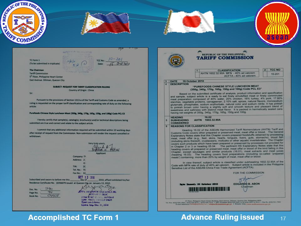 17 Accomplished TC Form 1 Advance Ruling issued