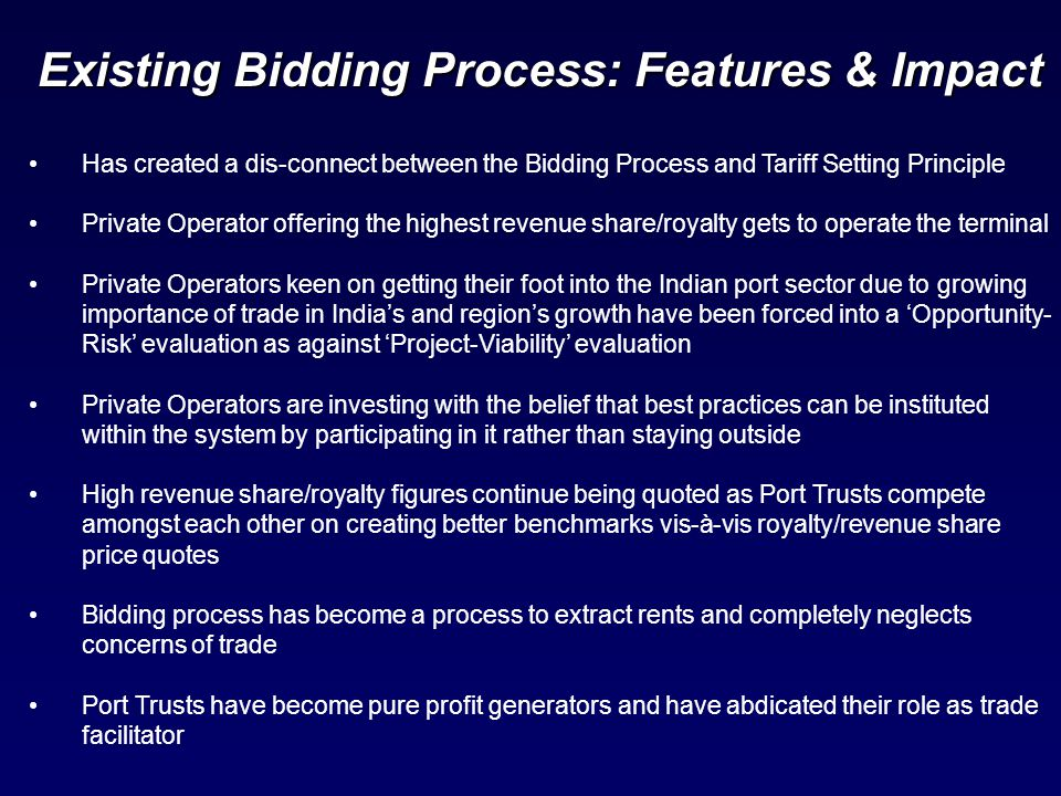 Has created a dis-connect between the Bidding Process and Tariff Setting Principle Private Operator offering the highest revenue share/royalty gets to