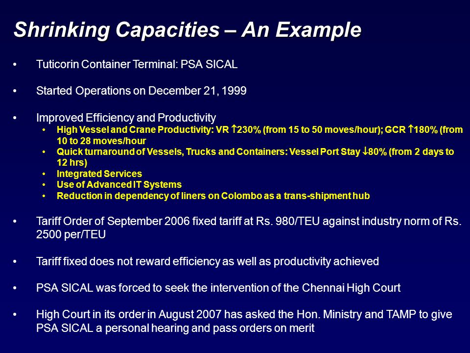 Shrinking Capacities – An Example Tuticorin Container Terminal: PSA SICAL Started Operations on December 21, 1999 Improved Efficiency and Productivity