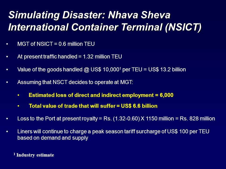 1 Industry estimate MGT of NSICT = 0.6 million TEU At present traffic handled = 1.32 million TEU Value of the goods handled @ US$ 10,000 1 per TEU = U