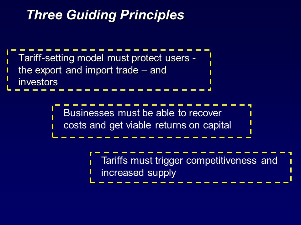 Three Guiding Principles Tariff-setting model must protect users - the export and import trade – and investors Businesses must be able to recover cost