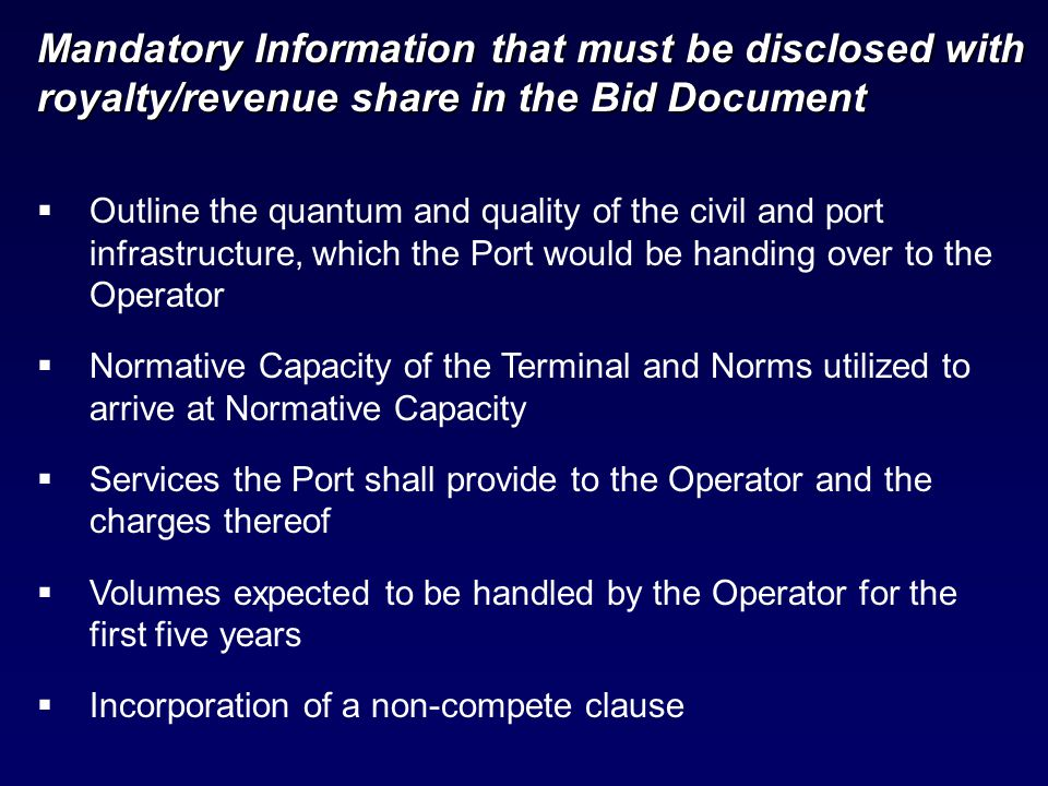  Outline the quantum and quality of the civil and port infrastructure, which the Port would be handing over to the Operator  Normative Capacity of t