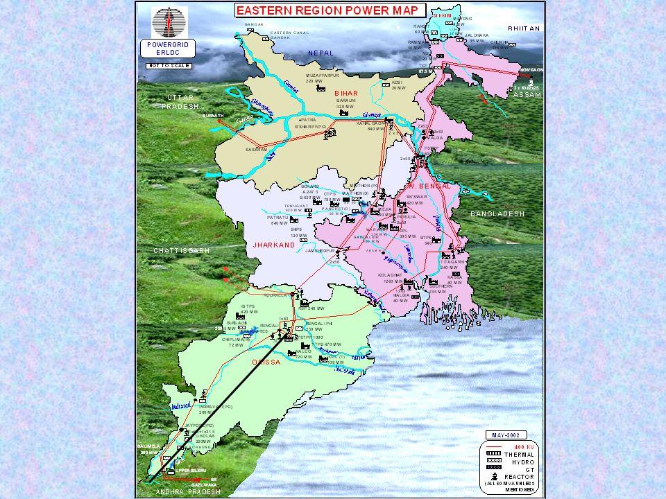 W.BENGAL BIHAR JHARKHAND ORISSA Sikkim 132 kVSahupuri-KarmanasaS/C - 132 kVRihand-Sonenagar 220 kVDehri-Sahupuri 220 kVBalimela(Orissa)-Upper Sileru 220 kVBirpara-SalaktiD/C line 1999 132kvRihand-Garwah 220 KVKorba(MP)–Budhipadar (Orissa) Tala Allahabad B'nggon Raipur Vizag Kolar Rourkella Talcher 450MW Bilateral:1300MW Transfer margin/Network Constraint 1200MW 450MW
