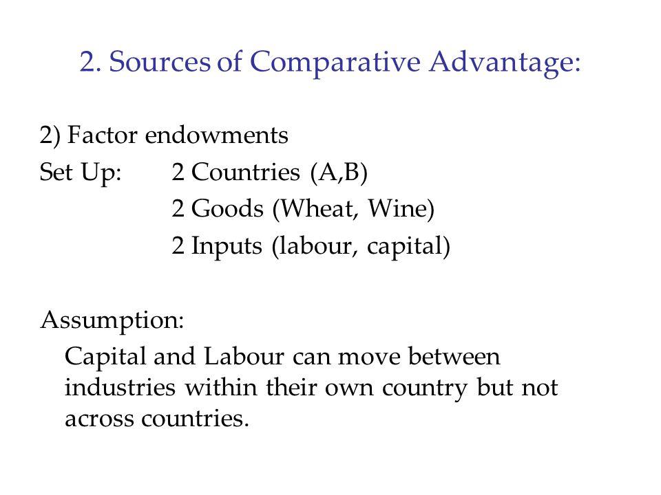 2. Sources of Comparative Advantage: 2) Factor endowments Set Up:2 Countries (A,B) 2 Goods (Wheat, Wine) 2 Inputs (labour, capital) Assumption: Capita