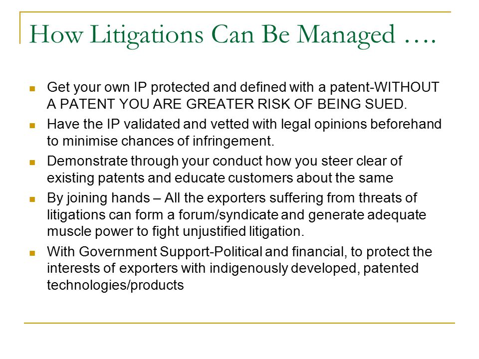 How Litigations Can Be Managed ….