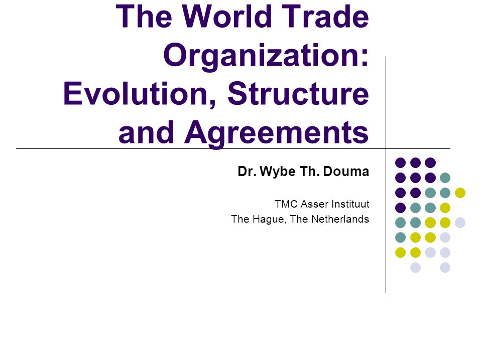 WTO: Evolution, Structure and Agreements 12 The WTO organisation: Mandate of the WTO Objectives (preamble WTO) Increase of standard of living Attainment of full employment Allowing optimal use of the world's resources, objective sustainable development Protect and preserve environment Share of growth for developing and least developed countries Through reduction of trade barriers and elimination of discrimination