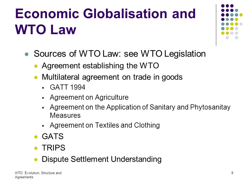 WTO: Evolution, Structure and Agreements 59 System of exceptions General exception, XX Escape clause Art.XIX Security exceptions Art.XXI Regional trade arrangement exception, Art.XXIV Waiver Art.XXV:5