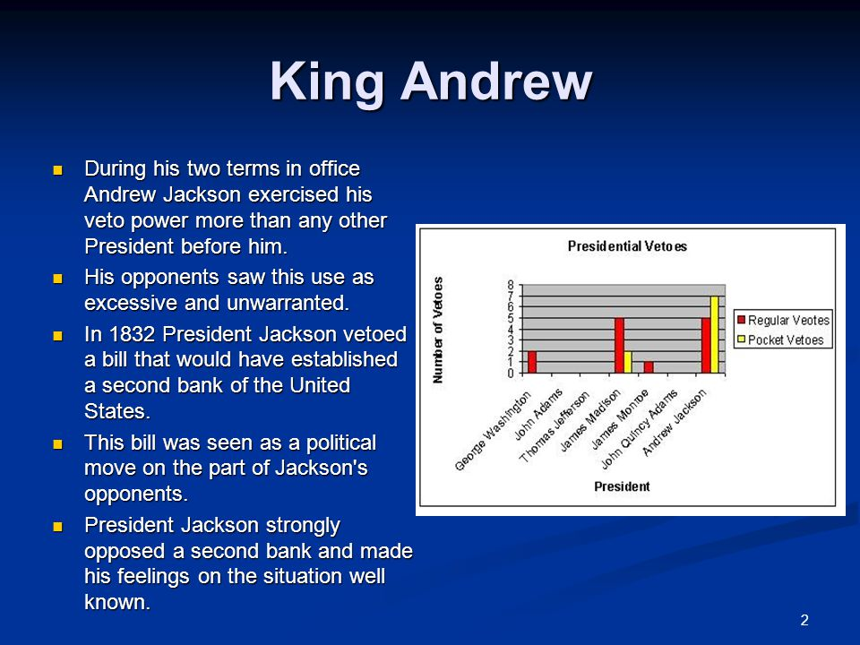 2 King Andrew During his two terms in office Andrew Jackson exercised his veto power more than any other President before him.