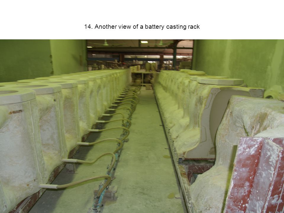 14. Another view of a battery casting rack